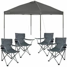 Pop Up Canopy Tent 10x10 Instant Gazebo Party Shade & 4 BONUS Folding Chairs NEW