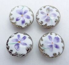 Antique Victorian Sterling Silver Enamel Violet Buttons Studs Set of 4 22392