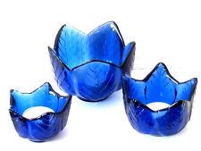 3 schöne Teelichtgläser / Windlicht in Blau 3 verschiedene Größen