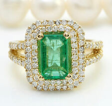 4.68CTW Natural Colombian Emerald and Diamonds in 14K Solid Yellow Gold Ring