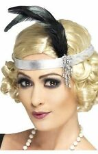 Silver Charleston 1920's Headband Hair band Black Feathers Hen Nights Party's
