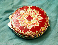 Vintage Italian FLORENTINE Gold Gilt Embossed RED LEATHER COMPACT Needs Powder