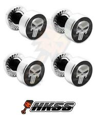 4 Silver Billet Aluminum License Plate Frame Tag Bolts - PUNISHER SKULL SB 431