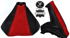 BLACK LEATHER RED SUEDE FOR VAUXHALL OPEL ASTRA TWINTOP 2005-2010 GAITERS SET