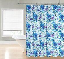 Chloe Bright Blue Purple watercolor Floral Flower Fabric Shower Curtain