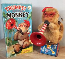 XX AUTOMATE ANCIEN TRUMPET PLAYING MONKEY WITH BELL  + BOITE  JAPAN XX