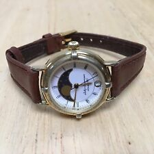 Vintage Jules Jurgensen Lady Moon Phase Analog Quartz Watch Hour~Date~New Batter