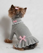 XXXS Gray and Pink Turtleneck T Shirt Dog Dress Knit clothes pet Teacup PC Dog®