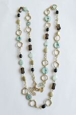 "LIA SOPHIA GOLD TONE BROWN RESIN BLUE MOTHER OF PEARL 36""-39"" NECKLACE"