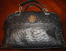 Bebe Black Dot Textured Satchel Handbag Purse Gold Chain Studs