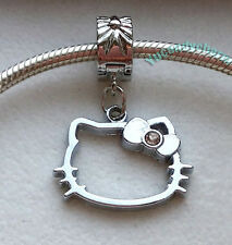Silver Charm Bead Stopper Lock Clip fits Authentic European bracelet Hello Kitty