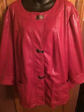 Ruby Road Jacket Womens Plus Size 24W Animal Print Deep Red 100% Polyester