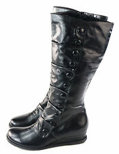Miz Mooz Women's Bloom Engineer Boot Side Zipper Black leather Size 7 M US