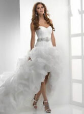 Hot White Beaded Draped Front Short and Long Back Wedding Dress Custom Size 6-24