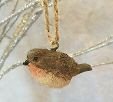 Little Christmas Robin Decoration Tree Red Brown Vintage Hanging Bird Resin Bird