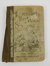 Antique Henderson's Test Words in Spelling 1894 Maynard Merrill Dictionary Book
