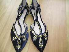 BODEN NAVY  EMBELLISHED POINTED TOE FLATS  SIZE= 40==6.5 BNWOB