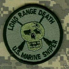 USMC PENCIL POCKET VELCRO PATCH COLLECTIONS: USMC SCOUT SNIPER LONG RANGE DEATH
