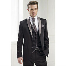 Best Men Suits Black Groom Tuxedo Groomsmen Wedding Suit (Jacket+Pants+Tie+Vest)
