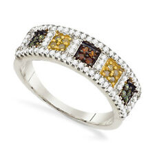Wow! 100% 10K White Gold Multi-Colored Diamond Square Cluster Ring Band .50ct