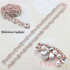 1 yard Rose Gold Iron on Beaded Applique with Rhinestone Pearl for Wedding Belt