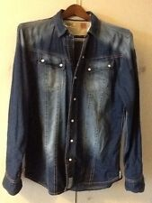 Mens Two Stoned Denim Shirt Xxl