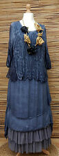 LAGENLOOK ASYMMETRICAL BEAUTIFUL LACE LAYERING LONG DRESS*NAVY BLUE*SIZE L-XL