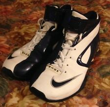 "authentic NIKE SHOX ""ELITE"" BASKETBALL SHOES MEN'S 9~WHITE & NAVY BLUE~sneakers"
