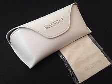 Valentino Sunglasses Case Glasses New Authentic White Leather With Wipe Cloth
