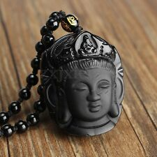 New Black Natural A Obsidian Carved Beautiful Chinese Kwan-yin Pendant Necklace
