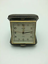 Antique Vintage Swiss Tourist 7 Jewels Alarm Clock +Leather Casing Works RNC0115