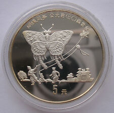 "CHINA  5 YUAN - ""DRACHENFLUGERFINDUNG"" - 1992(PP) PROOR, SILBER"