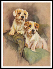 SEALYHAM TERRIER TWO DOGS LOVELY VINTAGE STYLE DOG PRINT POSTER