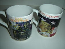 LARGE VINTAGE GOOD HOUSEKEEPING MUGS TWO COFFEE CUPS 2 HEAVY MUGS 1943 AND 1909
