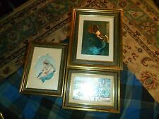 Vintage Lot Of 3 Christian Religion Art Print Wall Hangings W/ Matching Frames