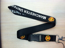 United Manchester Black Lanyard Key Chain Holder Soccer Football FREE SHIP/USA