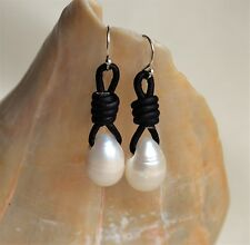White Drop Pearls on Leather Dangling Earrings Fashion Handmade Yevga 1.5''