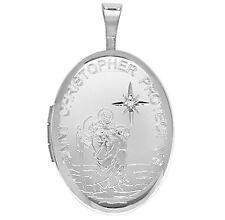 Argent Sterling Forme ovale Ensemble de diamants Saint Christophe Médaillon 2.6g