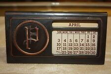 "Vintage Monogramed ""P"" Metal Perpetual Desk Calendar Copper Finish"