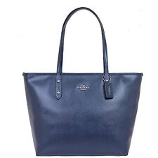 NWT Coach Metallic Midnight Blue City Zip Tote Leather Handbag F56129 - New$295