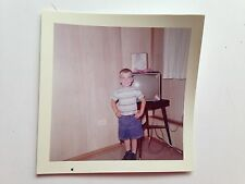 1960  SMILING LITTLE BOY WITH TELEVISION SET T.V Kodak Color Photo
