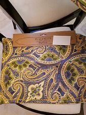 "APRIL CORNELL PLACEMATS CREAM/GREEN/BLUE/GOLD FLORAL 14""X19"" 4 MATS NWT"