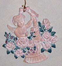 """Pink 4 1/2"""" Cupid Angel in Basket of Flowers Ornament Figurine"""