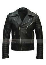 Mens Quilted Black Diamond  Real Boda  Lamb Skin Slim fit Leather Jacket