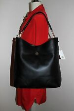 TORY BURCH Whipstitch Logo Hobo Tote Leather Shouler Bag Black Satchel Handbag