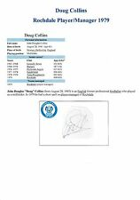 DOUG COLLINS ROCHDALE PLAYER/MANAGER 1979 ORIGINAL HAND SIGNED CUTTING/CARD