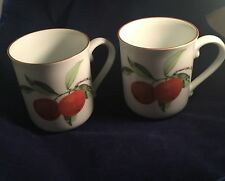 Royal Worcester Evesham 1961 Coffee Mugs (2) Made in England Fruit C51 Citrus