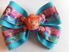 "Girls Hair Bow 4"" Wide Sofia the First Oona Aqua Blue Ribbon French Barrette"