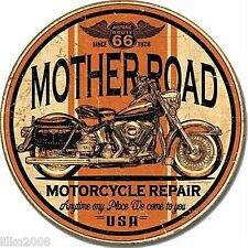 "Route 66 Mother Road Motorcycle Repair Round 12"" metal Sign HARLEY MOTORCYCLE"