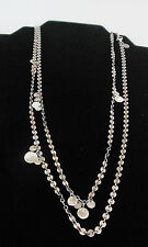 "Silpada CONFETTI Necklace N2739 Sterling Silver 46"" Long Chain w/Disc & Charms"
